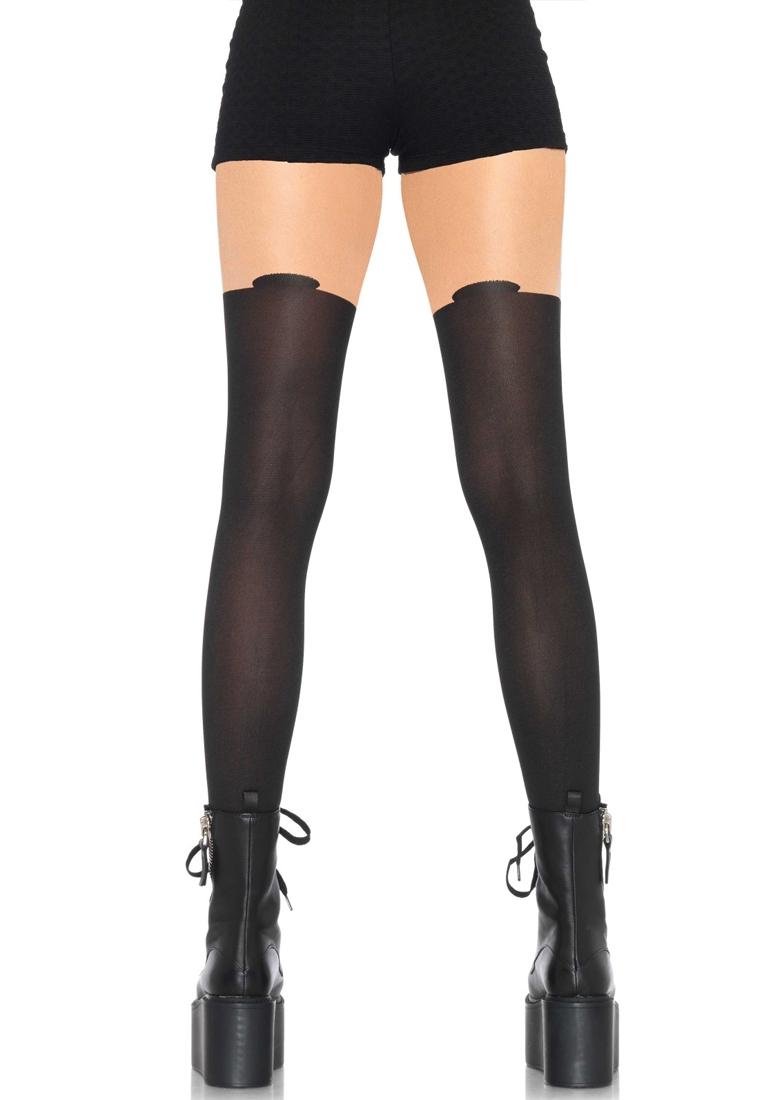 Panty nude de lycra con dibujo negro de Leg Avenue