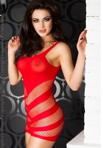 Vestido sexy transparente rojo