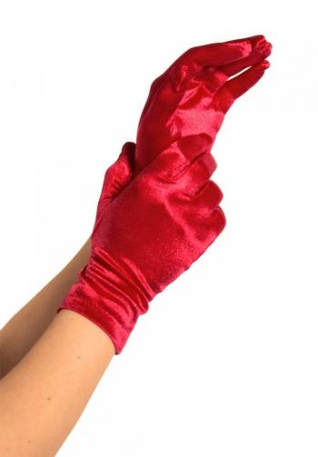 Guantes cortos satinados rojos