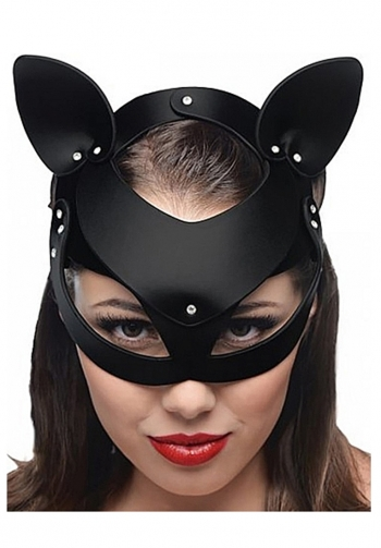 Mascara de cuero gato negro