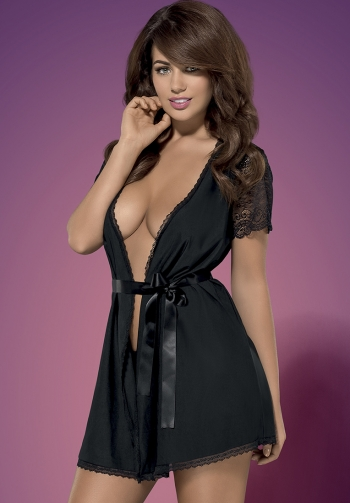Miamor negro robe y tanga