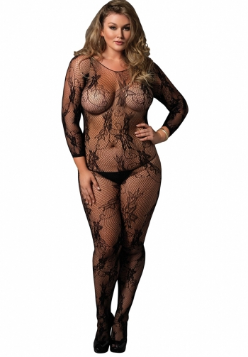 Bodystocking negro floral plus