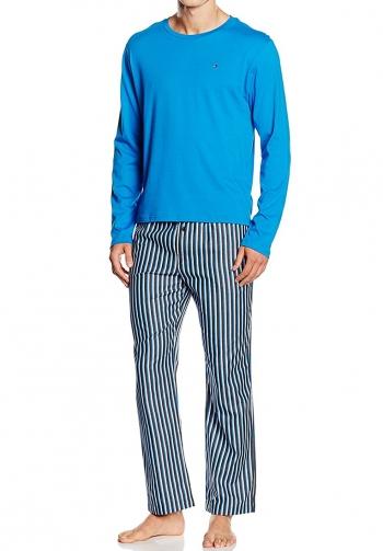 Pijama pantalon largo azul y n
