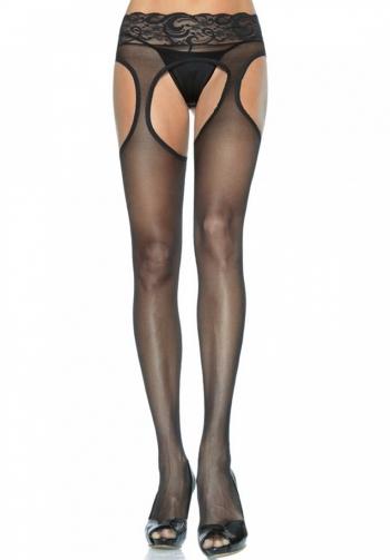 Panty negro con liguero de enc