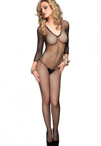 Bodystocking rejilla cuello V
