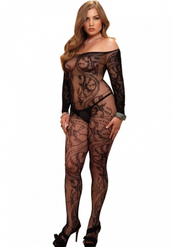 Bodystocking sexy negro plus