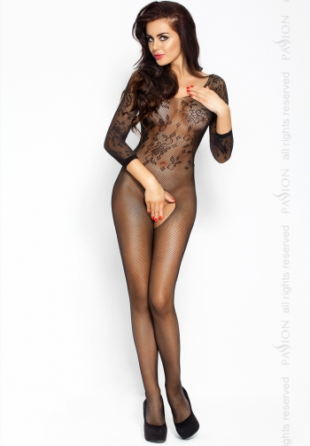 Bodystocking Floral negro