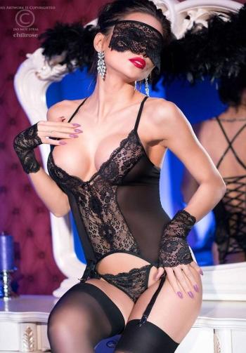 Conjunto corset 4 piezas negro
