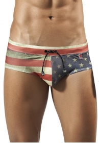 Flag swimsuit brief red