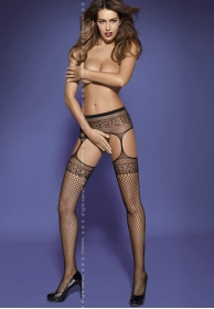 Garter stockings S502 black