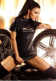 Wet Look dress black