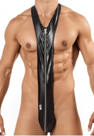 Sleek Zip Singlet body negro