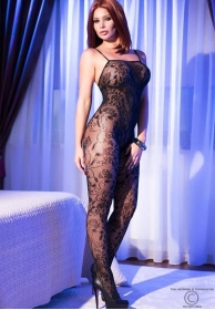 Bodystocking red floral negro
