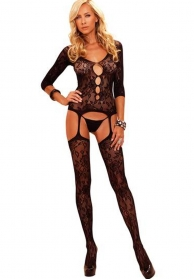 Bodystocking mangas 3/4 negro